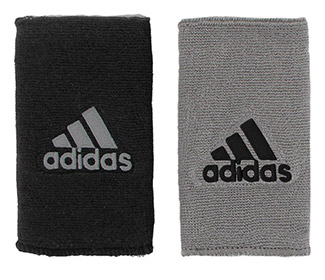 adidas Interval Reversible Wristband-Large (Black/Grey)