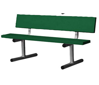 5' Aluminum Tennis Court Bench (Green)