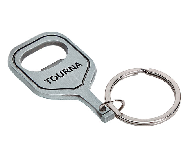 Tourna Pickleball Bottle Opener Keychain (Silver)